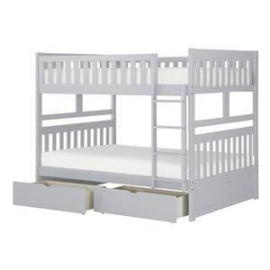 Lit superposé HomeTrend double sur double, gris, avec tiroirs de rangement