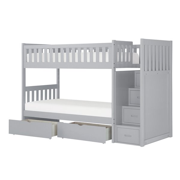 Hometrend Step Bunk Bed with Storage Grey