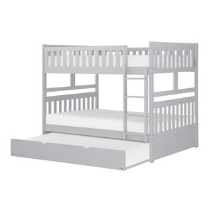 Lit superposé HomeTrend double sur double, gris, avec lit gigogne simple