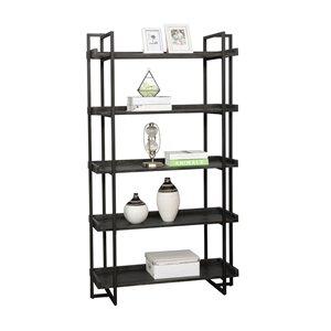 Mazin Furniture Industrials Axel Matte Black Metal 5-Shelf Standard Bookcase