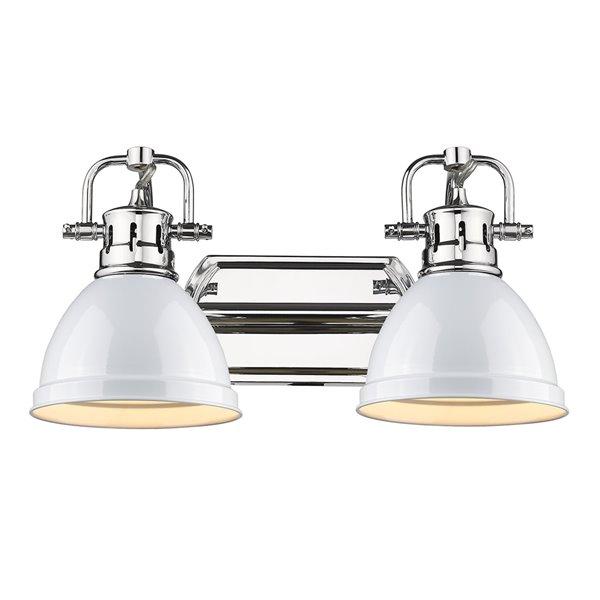 Luminaire Duncan à 2 ampoules pour meuble-lavabo, chrome, abat-jour blanc de Golden Lighting