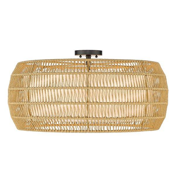 Plafonnier Everly noir de style bohemian de 27,13 po par Golden Lighting