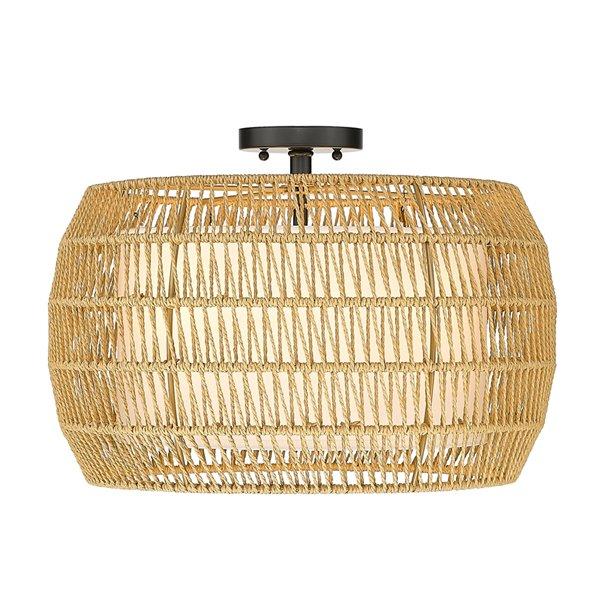 Plafonnier Everly noir de style bohemian de 19 po par Golden Lighting