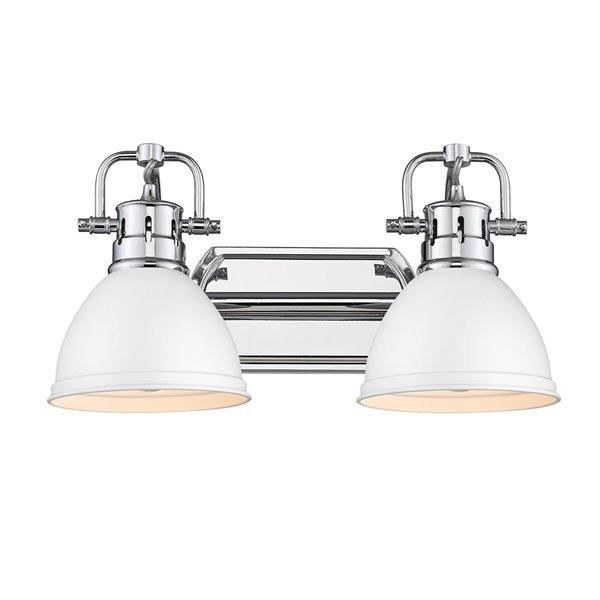 Luminaire Duncan à 2 ampoules pour meuble-lavabo, chrome, abat-jour blanc mat de Golden Lighting