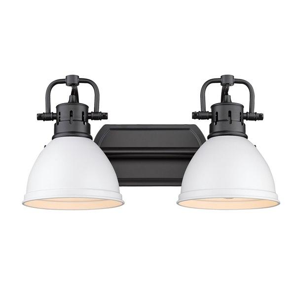 Luminaire Duncan à 2 ampoules pour meuble-lavabo, noir, abat-jour blanc mat de Golden Lighting