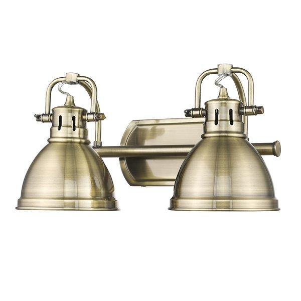 Luminaire Duncan à 2 ampoules pour meuble-lavabo, cuivre, abat-jour cuivre de Golden Lighting