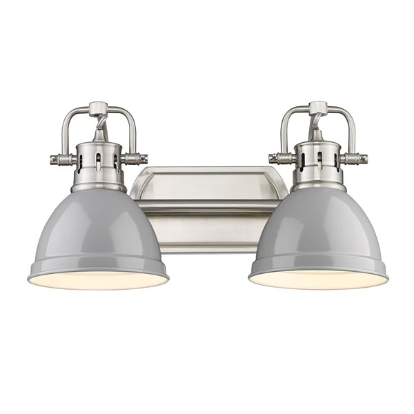 Luminaire Duncan à 2 ampoules pour meuble-lavabo, étain, abat-jour gris de Golden Lighting