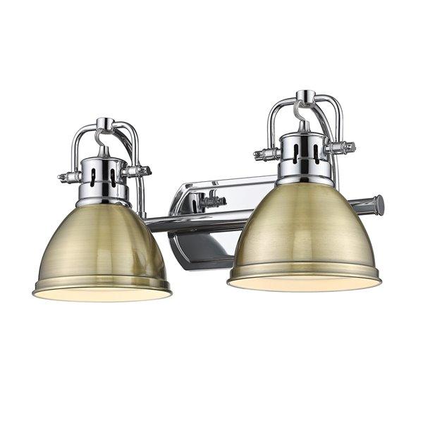 Luminaire Duncan à 2 ampoules pour meuble-lavabo, chrome, abat-jour cuivre de Golden Lighting