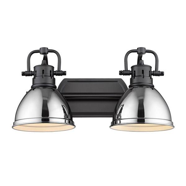 Luminaire Duncan à 2 ampoules pour meuble-lavabo, noir, abat-jour noir mat de Golden Lighting