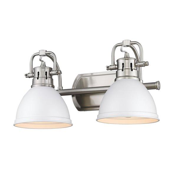 Luminaire Duncan à 2 ampoules pour meuble-lavabo, étain, abat-jour blanc mat de Golden Lighting