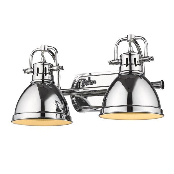 Luminaire Duncan à 2 ampoules pour meuble-lavabo, chrome, abat-jour chrome de Golden Lighting