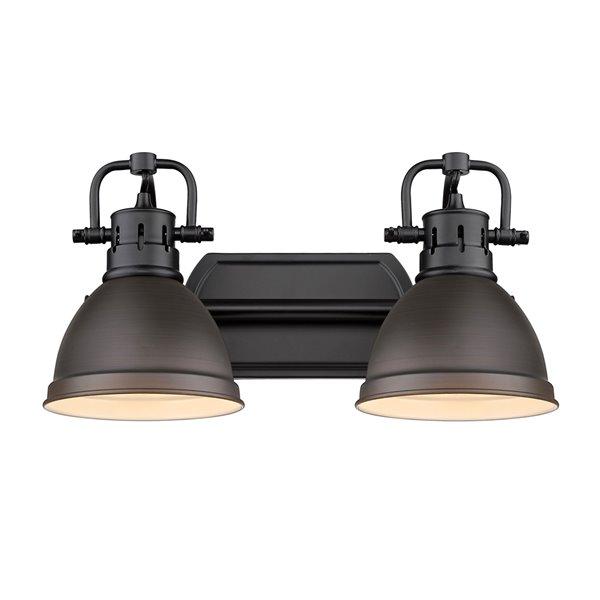 Luminaire Duncan à 2 ampoules pour meuble-lavabo, noir, abat-jour bronze de Golden Lighting