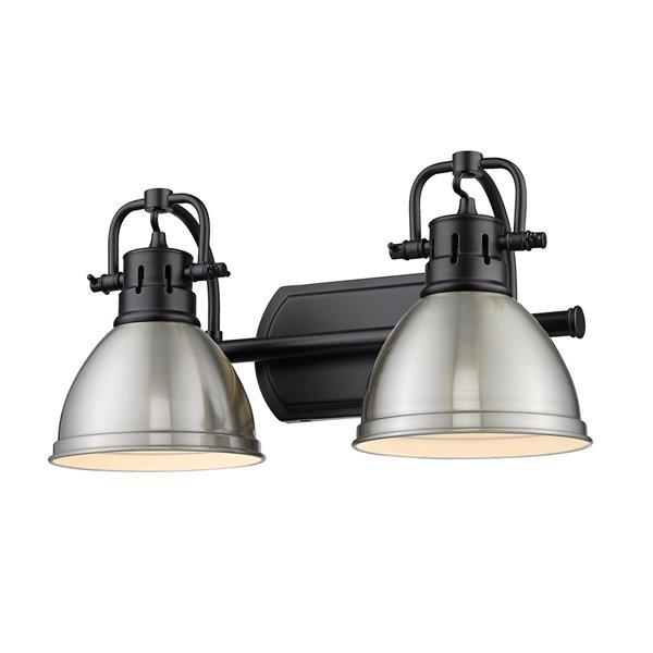 Luminaire Duncan à 2 ampoules pour meuble-lavabo, noir, abat-jour étain de Golden Lighting