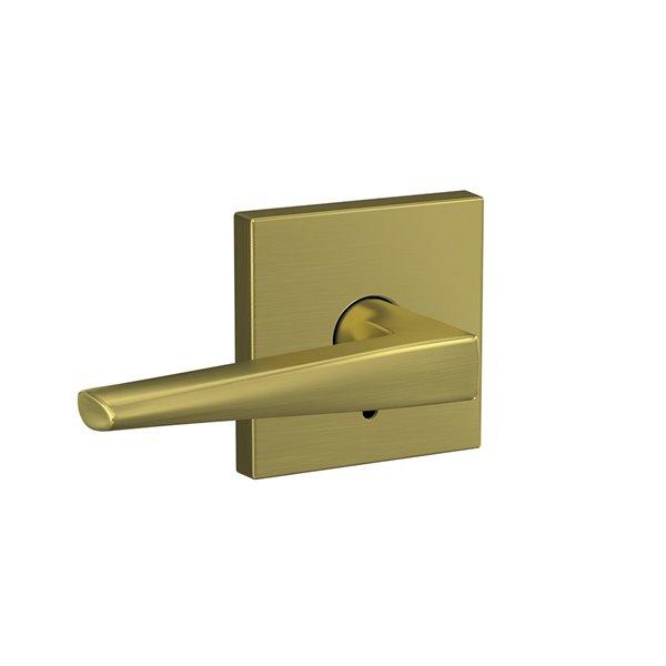 Poignée de porte combinée universelle Eller en laiton satiné sans pêne dormant par Schlage Custom