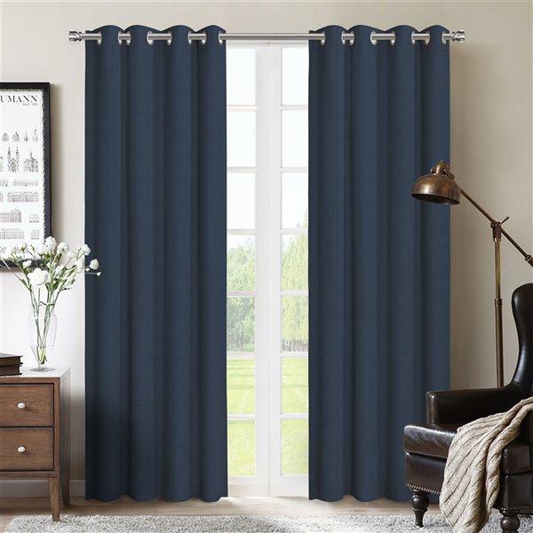 Paire de panneaux de rideaux Allegheny par Honolulu Home Fashions occultants en polyester, bleu marine, L 95 po X l 54 po