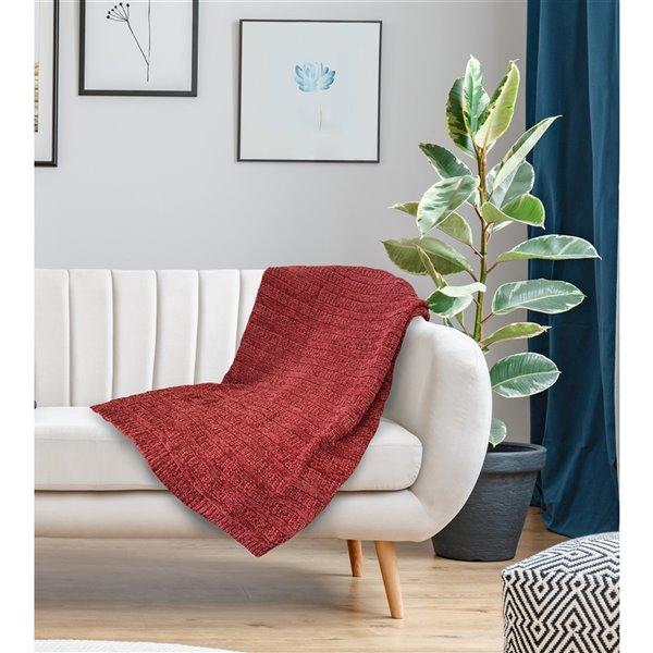 Jeté Gorey par Honolulu Home Fashions en acrylique rouge