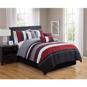 Ensemble de douillette Honolulu Home Fashions , 7 pièces en rouge pour très grand lit