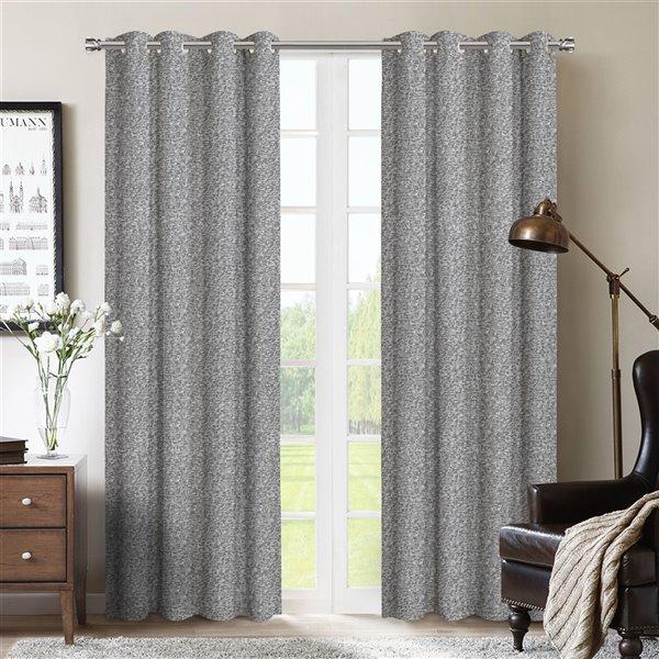 Paire de panneaux de rideaux Bedford par Honolulu Home Fashions, occultants intercalés, polyester, gris, L 95 po X l 54 po