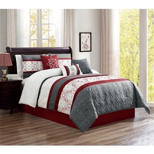 Honolulu Home Fashions Red King Comforter Set - 7 pieces