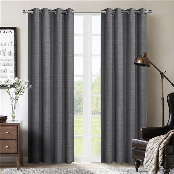 Paire de panneaux de rideaux Rovigo par Honolulu Home Fashions, gris occultants intercalés, en polyester, L 95 po X l 54 po