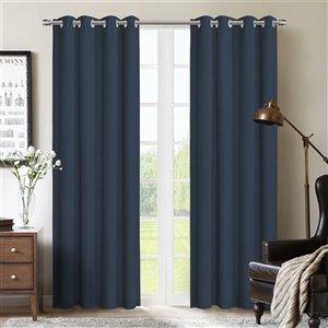 Paire de panneaux de rideaux Allegheny par Honolulu Home Fashions occultants en polyester, bleu marine, 84 po L X 54 po l