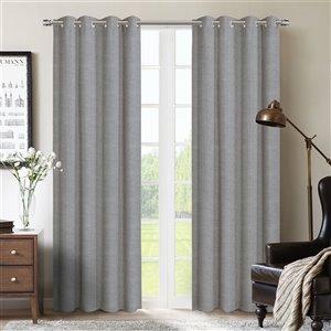 Paire de panneaux de rideaux Berks par Honolulu Home Fashions occultants en polyester, gris, 84 po L X 54 po l