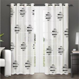 Paire de panneaux de rideaux Wexford par Honolulu Home Fashions semi-transparents en polyester, blancs, L 95 po X l 54 po