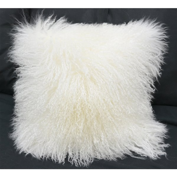 Honolulu Home Fashions White Mongolian 16-in W X 16-in L Square Indoor Decorative Pillow