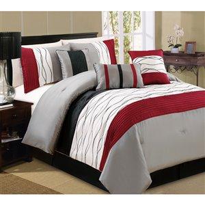 Ensemble de couettte Honolulu Home Fashions rouge, 7 pièces pour grand lit