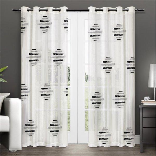 Paire de panneaux de rideaux Wexford par Honolulu Home Fashions semi-transparents en polyester, blancs, 84 po L X 54 po l
