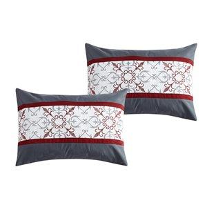 Ensemble de couettte Honolulu Home Fashions , 7 pièces pour grand lit, rouge