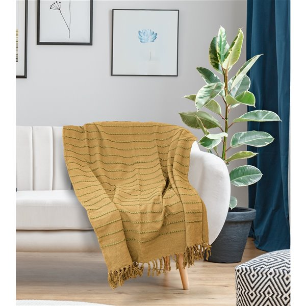 Jeté Longford par Honolulu Home Fashions couleur moutarde