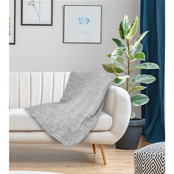 Jeté Gorey par Honolulu Home Fashions en acrylique gris