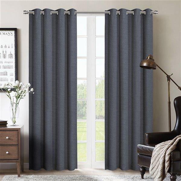 Paire de panneaux de rideaux Lazio par Honolulu Home Fashions occultants en polyester bleu, 84 po L X 54 po l