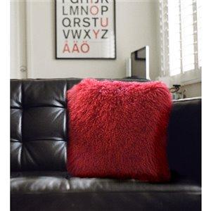 Coussin décoratif d'intérieur carré de Honolulu Home Fashions de 16 po L X 16 po L , en laine de mouton de Mongolie (Rouge)