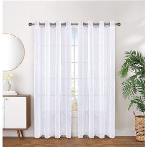 Paire de panneaux de rideau par Honolulu Home Fashions semi-transparent en polyester, blancs, 84 po L X 54 po l