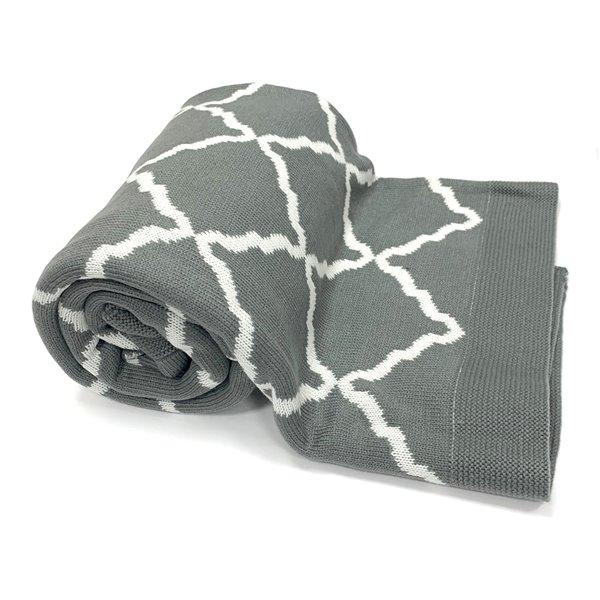 Jeté Ardee par Honolulu Home Fashions en acrylique gris