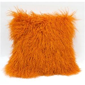 Coussin décoratif d'intérieur carré de Honolulu Home Fashions de 16 po L X 16 po L , en laine de mouton de Mongolie (Orange)