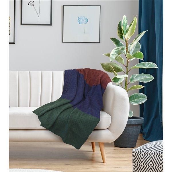 Jeté Anadia par Honolulu Home Fashions en acrylique bleu/bordeaux