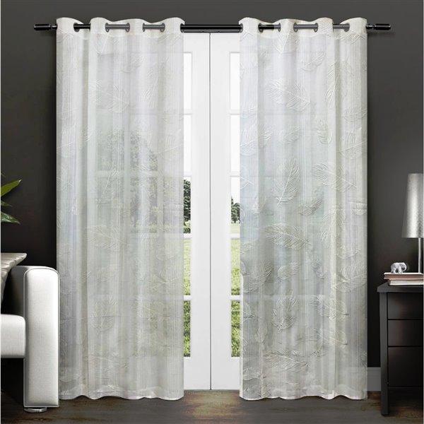 Paire de panneaux de rideaux Midleton par Honolulu Home Fashions semi-transparents en polyester, blancs, L 95 po X l 54 po