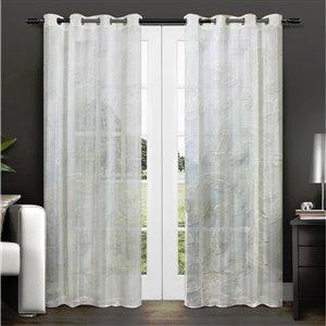 Paire de panneaux de rideaux Midleton par Honolulu Home Fashions semi-transparents en polyester, blancs, 84 po L X 54 po l