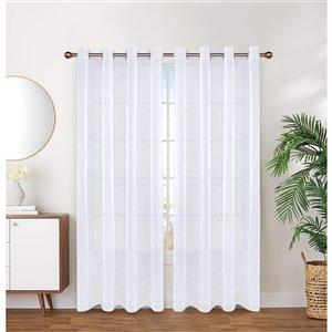 Paire de panneaux de rideaux Arklow de Honolulu Home Fashions semi-transparents en polyester, blancs, 84 po L X 54 po l