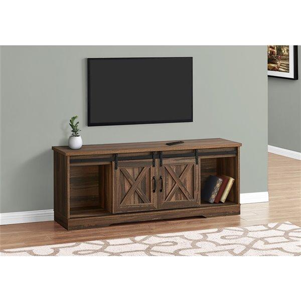 Meuble de télé style bois recyclé, brun, de Monarch Specialties