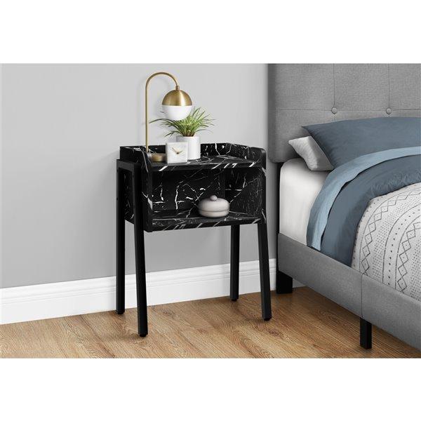 Table d'appoint rectangulaire en composite noir par Monarch Specialties