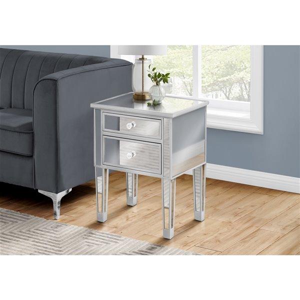 Table de chevet rectangulaire en miroir argenté par Monarch Specialties