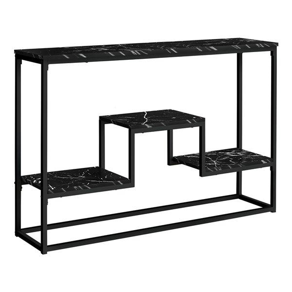 Table console en faux marbre noir de 31,75 po x 48 po par Monarch Specialties