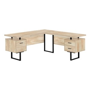 Monarch Specialties 47.25-in Natural Modern/Contemporary L-Shaped Desk
