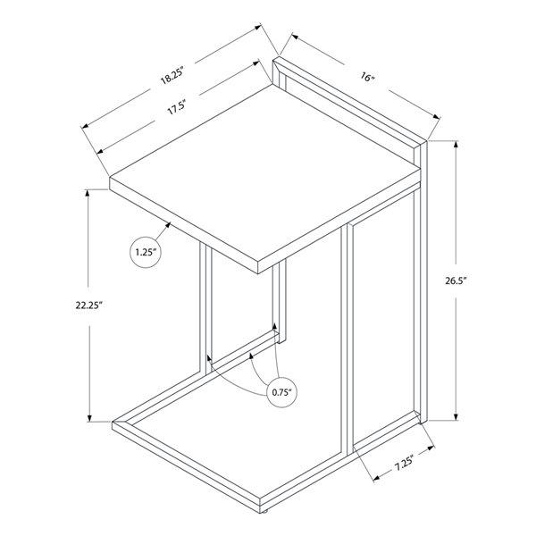 Table de chevet rectangulaire en composite noir par Monarch Specialties