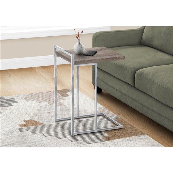 Table d'appoint rectangulaire par Monarch Specialties en composite taupe foncé