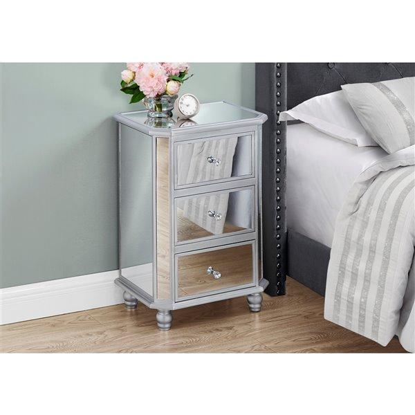 Table d'accent rectangulaire en miroir argenté par Monarch Specialties